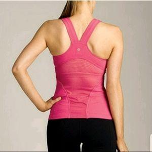 Lululemon deep V mesh pink tank top size Med